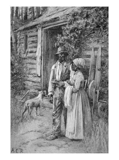 Field Workers Oustside their Cabin, 1886-American School-Giclee Print