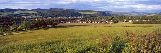 Fields with a Town in the Background, Peebles, Scottish Borders, Scotland--Photographic Print