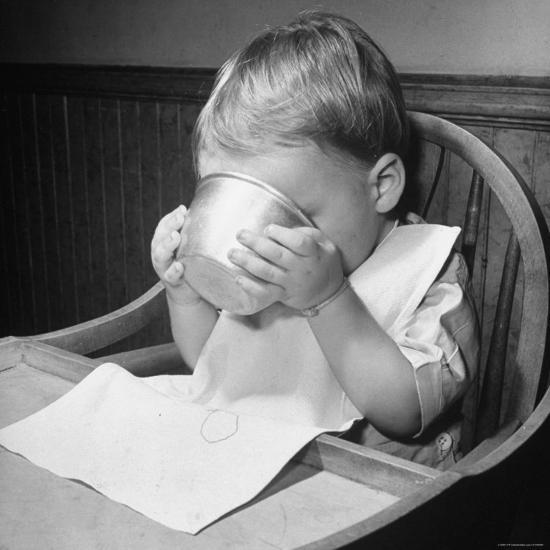 Fifteen Mo. Old Baby Demonstrates How He Can Now Drink from a Cup Even Though It is a Bit Sloppy-Nina Leen-Photographic Print