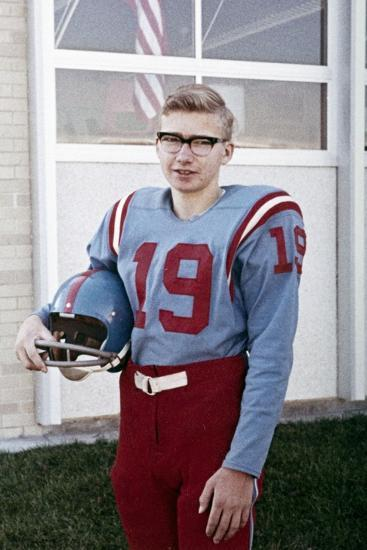 Fifteen Year Old High School Football Player Portrait Outside the School, Ca. 1961--Photographic Print