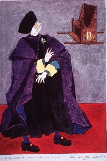 Fifteenth Century Costume Of The Superintendent Of Siena Hospital, Italy-Warja Honegger-Lavater-Art Print