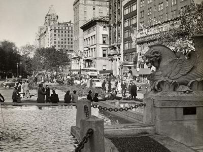 Fifth Ave Scene With Pedestrians and Buses, NYC-George Marks-Photographic Print
