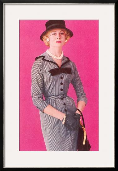 Fifties Haute Couture Dress--Framed Art Print