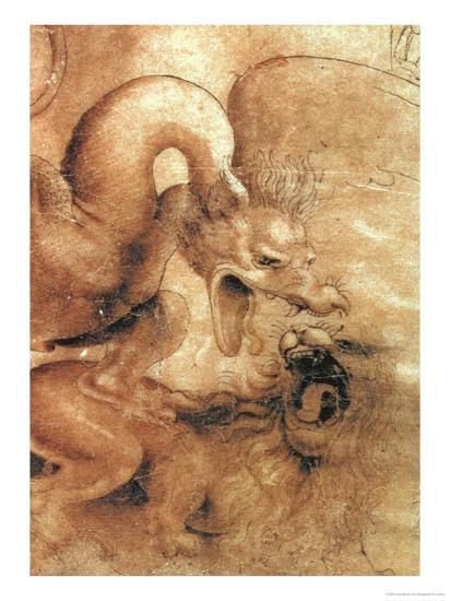 Fight Between a Dragon and a Lion, a Detail-Leonardo da Vinci-Giclee Print