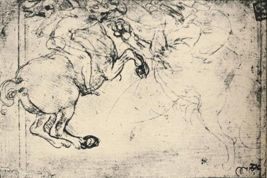'Fight Between a Horseman and a Griffin', c1480 (1945)-Leonardo da Vinci-Giclee Print