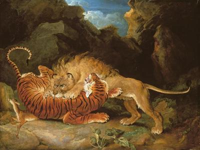 Fight Between a Lion and a Tiger, 1797-James Ward-Giclee Print