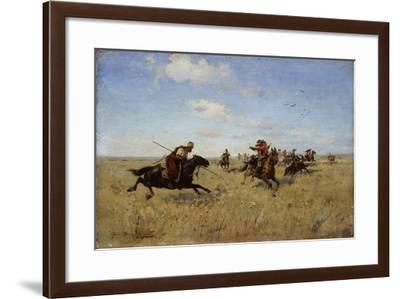 Fight Between Dnieper Cossacks and Tatars, 1892-Sergei Ivanovich Vasilkovsky-Framed Giclee Print