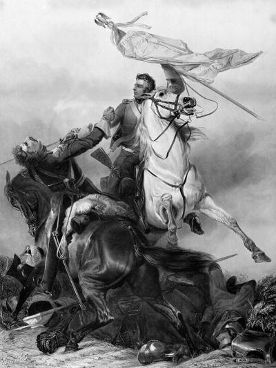 Fight for the Standard - Sergeant Ewart Capturing the Eagle of the French 45th Regiment at Waterloo-Richard Ansdell-Giclee Print