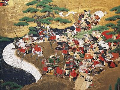 Fight Scene, Detail from Byobu--Giclee Print