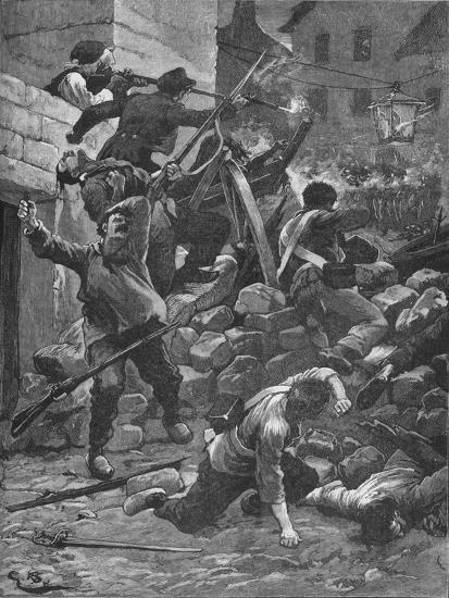 Fighting at the barricades in Paris, 1848 (1906)-Unknown-Giclee Print