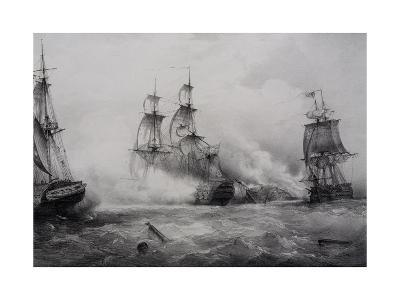 Fighting Between British and American Third-Rate Sailing Ships with 74 Guns--Giclee Print