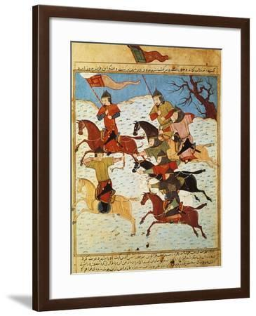 Fighting Between Mongol Knights Armed with Bows and Sabres, from a Persian Manuscript--Framed Giclee Print