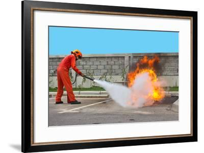 Fighting Fire during Training- Yutthaphong-Framed Photographic Print