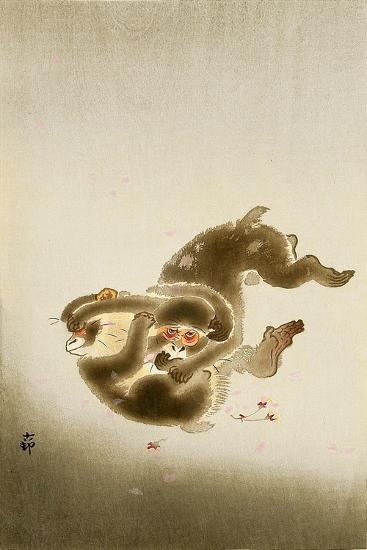 Fighting Monkeys-Koson Ohara-Giclee Print