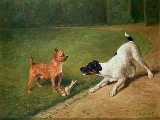 Fighting over a Bone-John Emms-Giclee Print