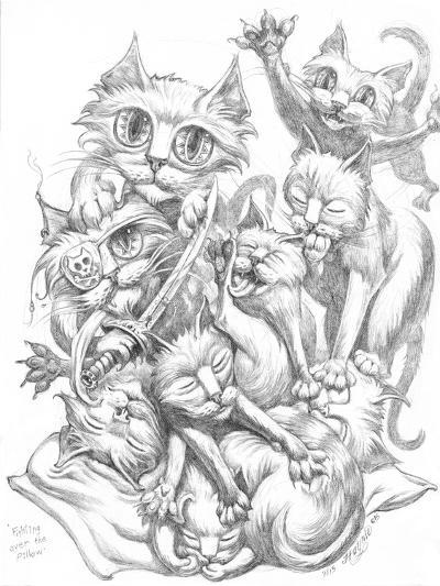 Fighting over Pillow Pencil-Jeff Haynie-Giclee Print