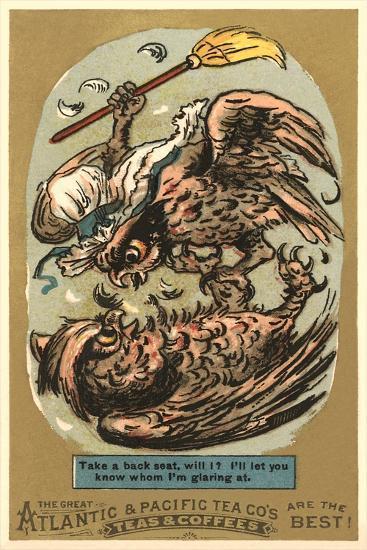 Fighting Owls--Art Print