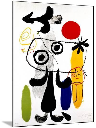 Figur Gegen Rote Sonne II, c. 1950-Joan Mir?-Mounted Print