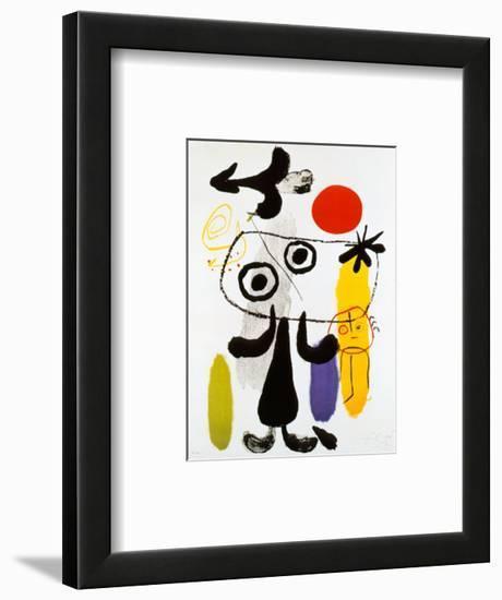 Figur Gegen Rote Sonne II, c. 1950-Joan Miró-Framed Art Print