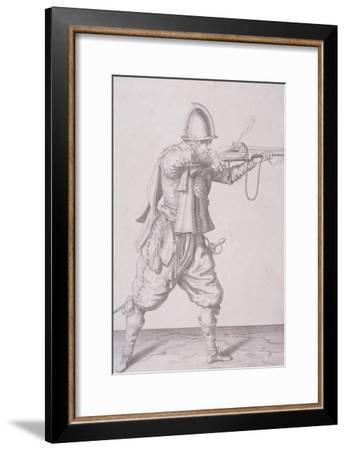 Figure in Military Clothing Firing a Musket and Wearing a Sword, 1607--Framed Giclee Print