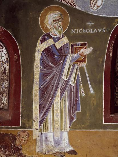 Figure of Saint, Detail from Life of St. Nicholas of Bari, 11th Century Fresco, St. Eldrado Chapel--Giclee Print