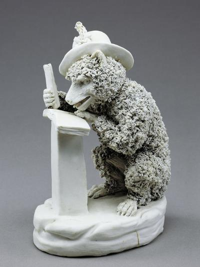 Figure of Seated Monkey Reading, Bisque Porcelain, 19 Cm--Giclee Print