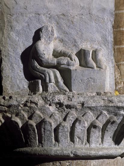 Figure of Shoemaker, Relief, Basilica of Twelve Apostles, Old Lodi, Lombardy, Italy, 14th Century--Giclee Print