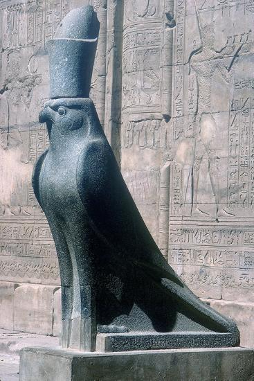 Figure of the god Horus in the form of a falcon, Temple of Horus, Edfu, Egypt, c251BC-c246BC-Unknown-Giclee Print