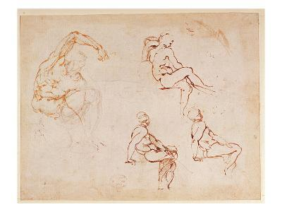 Figure Studies for a Man (Brown Ink)-Michelangelo Buonarroti-Giclee Print