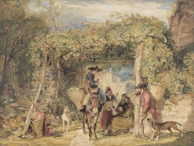 Figures and Animals in a Vineyard, C.1829 (W/C, Gouache and Graphite on Paper)-John Frederick Lewis-Giclee Print