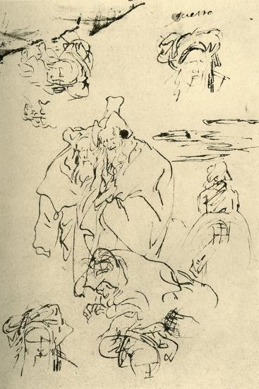 'Figures and heads of Orientals', mid 18th century, (1928)-Giovanni Battista Tiepolo-Giclee Print