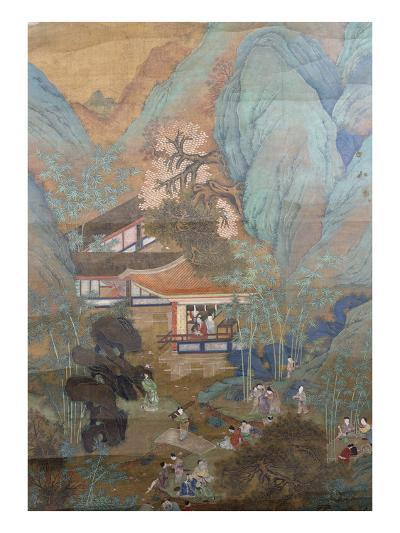 Figures at Leisure in the Garden of a Pavilion, Set in a Mountainous Landscape of Blossoming…--Giclee Print
