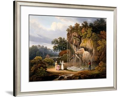 Figures by a Waterfall, 1825-Francis Nicholson-Framed Giclee Print