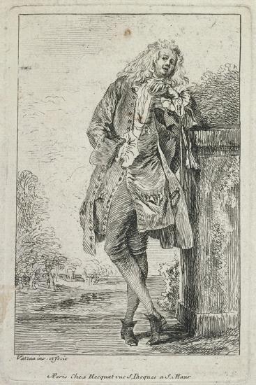 Figures De Mode: Homme Debout Acconde-Jean Antoine Watteau-Giclee Print