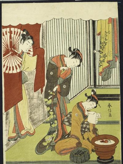 Figures in an Interior, a Courtesan Looking at Her Shinzo Who Is Reading a Love Letter-Suzuki Harunobu-Giclee Print
