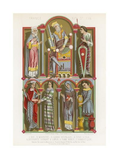 Figures of a King, Minister, Palace Guard, Noblewoman and a Servant--Giclee Print