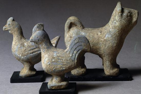Figures of Animals, Terracotta Funerary Statues, China, Wang Mang Period--Giclee Print