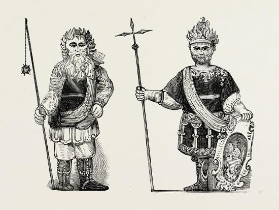 Figures of Gog and Magog Set Up in Guildhall after the Fire London--Giclee Print
