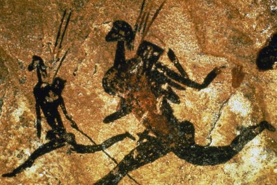 Figures of Hunters, Bushmen or San Cave Paintings, Maloti-Drakensberg Park  Photographic Print by | Art com