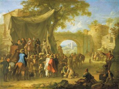 Figures of the Commedia Dell'Arte Acting Out a Quack Doctor Scene-Franz Ferg-Giclee Print