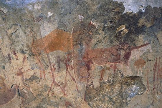 Figures of Ungulates, Bushmen or San Cave Paintings, Maloti-Drakensberg Park--Photographic Print