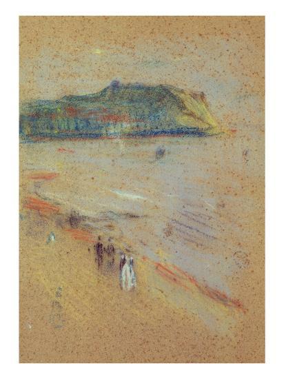 Figures on a Beach Near Cliffs-James Abbott McNeill Whistler-Giclee Print