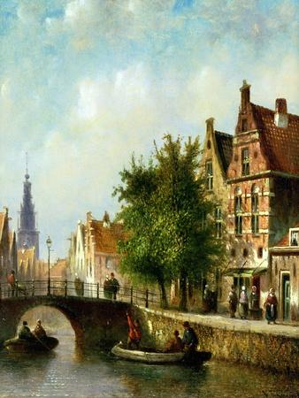 Figures on a Canal, Amsterdam-Johannes Franciscus Spohler-Premium Giclee Print