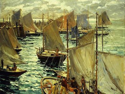 Figures on a Sailboat-Lie Jonas-Giclee Print