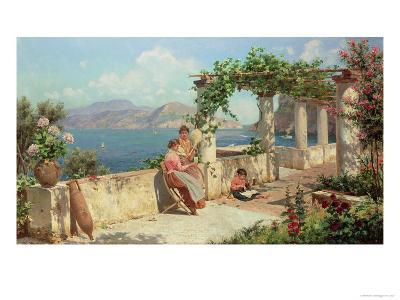 Figures on a Terrace in Capri-Robert Alott-Giclee Print