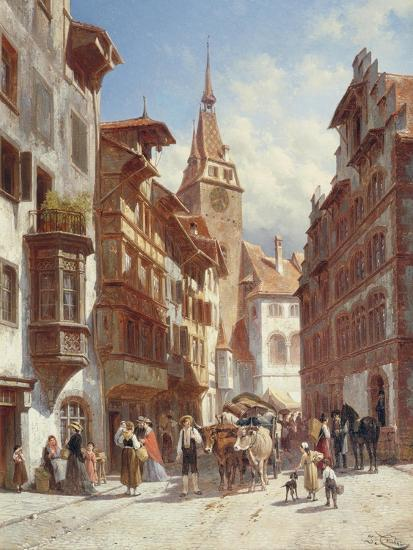 Figures on the Street in Zug, Switzerland, 1880-Jacques Carabain-Giclee Print