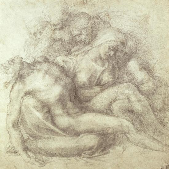 Figures Study for the Lamentation Over the Dead Christ, 1530-Michelangelo Buonarroti-Giclee Print