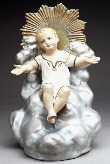 Figurine of Infant Jesus Sitting on Throne of Clouds, Italy--Giclee Print