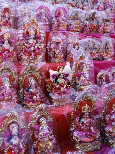 Figurines of Hindu Gods Ganesh and Laxshmi, Sold as Part of the Diwali Festival, Varanasi, India-Greg Elms-Photographic Print