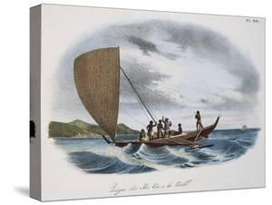 Fijian Sailing Canoe, Colour, 19th Century